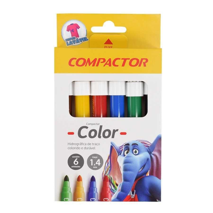 bd9bd55821 Caneta Hidrográfica Jumbo 6 Cores Color Compactor na Papelaria Art Nova