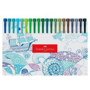 Caneta Hidrográfica Faber Castell Fine Pen 0,4mm Estojo c/60 cores FPB/ES60ZF