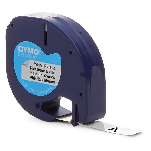 Fita para Rotulador Eletrônico 12mm x 4m Poliéster LetraTag Preto / Branco 91331 - Dymo