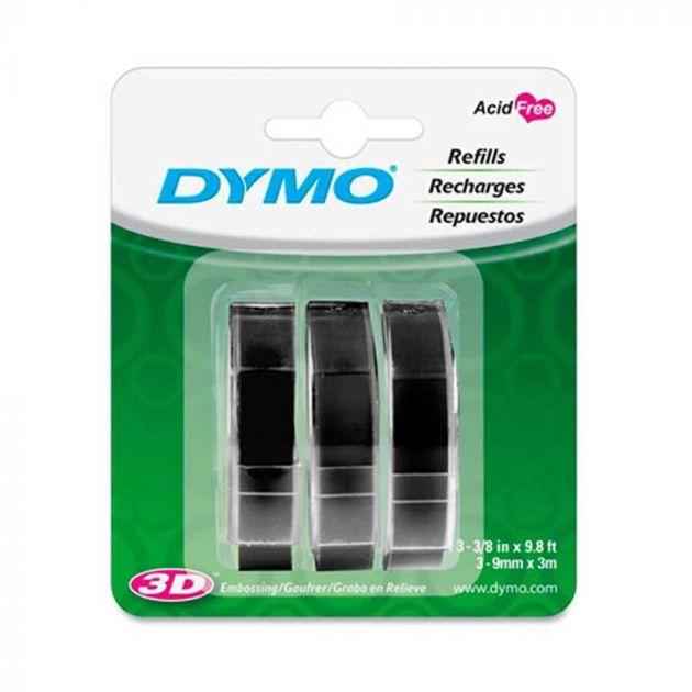 Fita para Rotulador Manual 9mm x 3,6m Preto com 3 unidades - Dymo