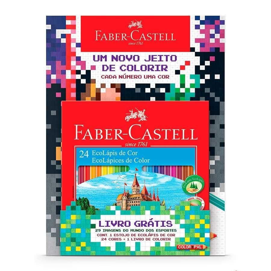 6e005eaf92 Lápis de Cor 24 cores Sextavado - Faber-Castell + Livro para Colorir ...