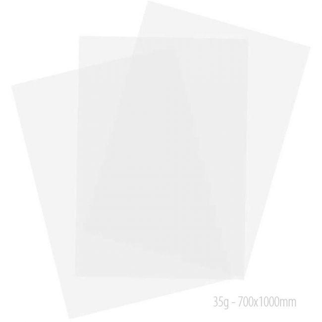 Papel Manteiga Impermeável 35 Grs. Branco 70 X 100cm pt c/100 fLS. USA FOLIEN