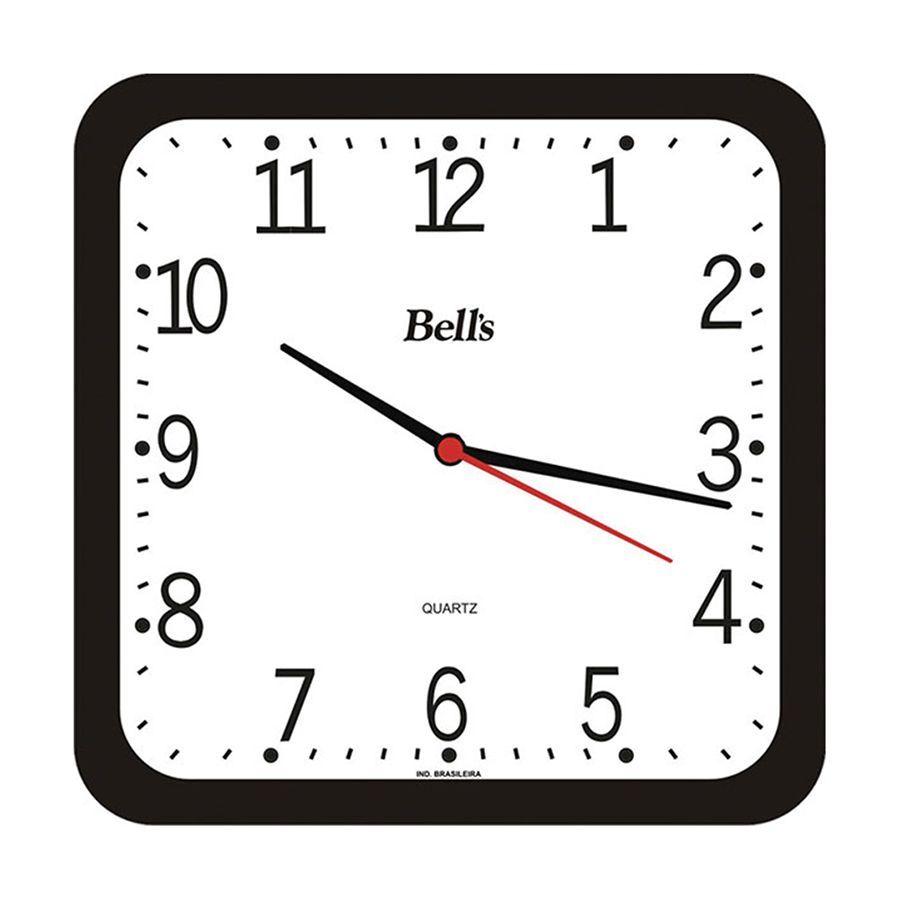 Relogio De Parede Quadrado Quartz Preto 2 004 001 11 Bell S Na